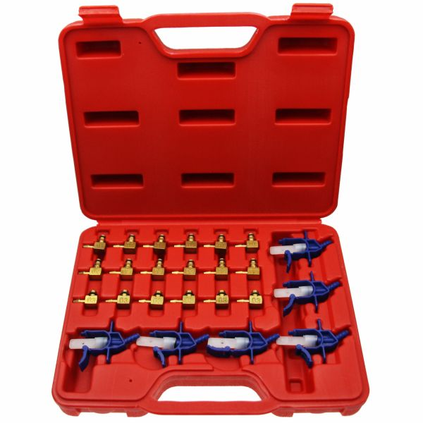 24-tlg. Adapter-Satz für Rücklaufmengen-Prüfgerät (Art. Nr. 1323) bei Common-Rail-Injektoren