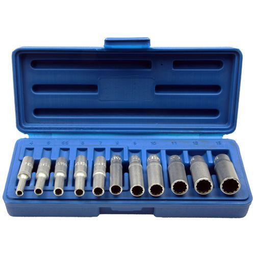 Steckschlüssel-Einsätze für 6 und 12-kant Schrauben, 11-tlg.