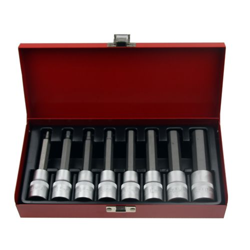 8 x LANGE Kraft Innensechskant Einsatz / Schlüssel für Innen-6-kant Schrauben Steckschlüsseleinsatz