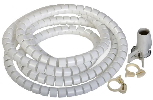 Flexible-Kabelspirale mit Einziehhilfe, Ø 25 mm / L2.5 m - WEISS