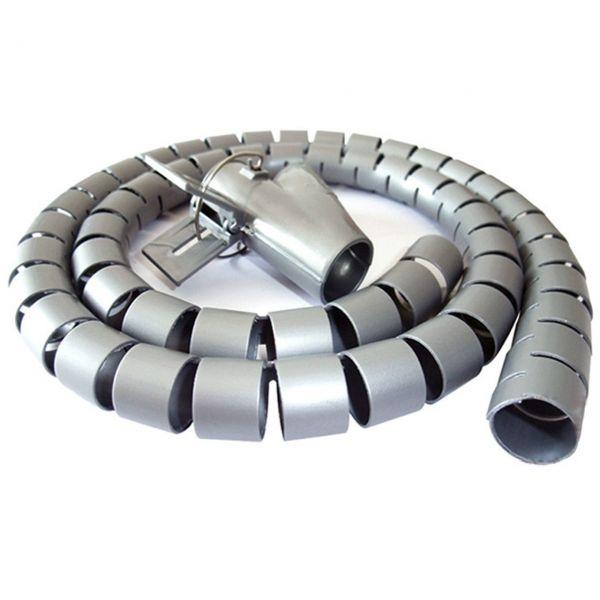 Flexible-Kabelspirale mit Einziehhilfe, Ø 25 mm / L2.5 m - GRAU