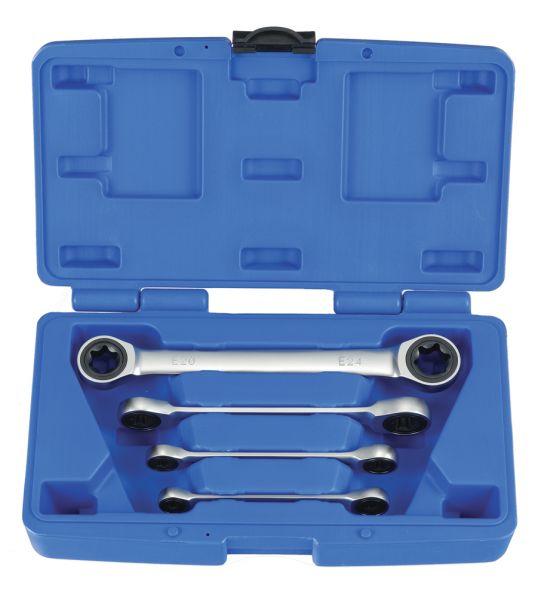 TORX® Doppel-Ratschenringschlüssel-Sätze, 4-tlg. E6-24 (E-Profil) feinverzahnt