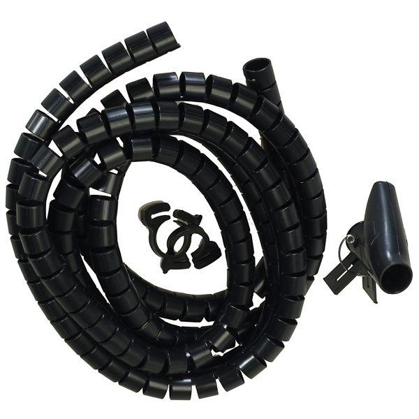 Flexible-Kabelspirale mit Einziehhilfe, Ø 20 mm / L2.5 m - SCHWARZ