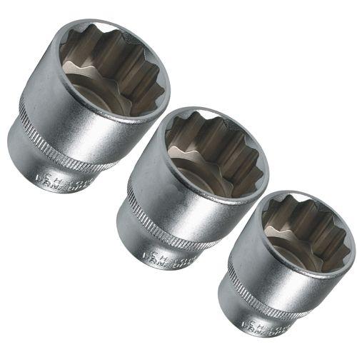 Steckschlüssel-Einsatz für 12-kant oder auch 6-kant Schrauben, 3-tlg.