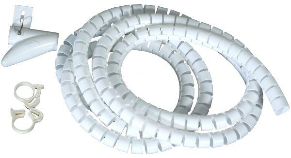 Flexible-Kabelspirale mit Einziehhilfe, Ø 20 mm / L2.5 m - WEISS