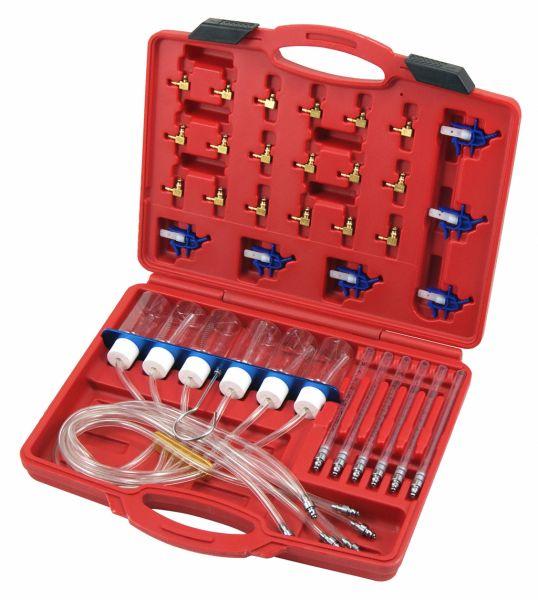 Rücklaufmengen-Prüfgerät für Common-Rail-Injektoren, inkl. 24 x Adapter
