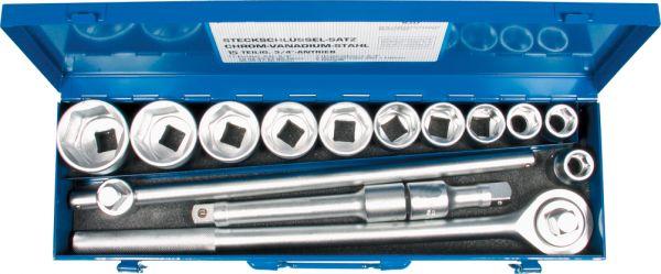 """Steckschlüssel-Satz 3/4""""-Antrieb 15-tlg. 19-50 mm mit Knarre und Verlängerungen"""