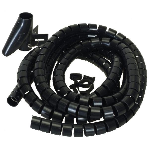 Flexible-Kabelspirale mit Einziehhilfe, Ø 25 mm / L2.5 m - SCHWARZ