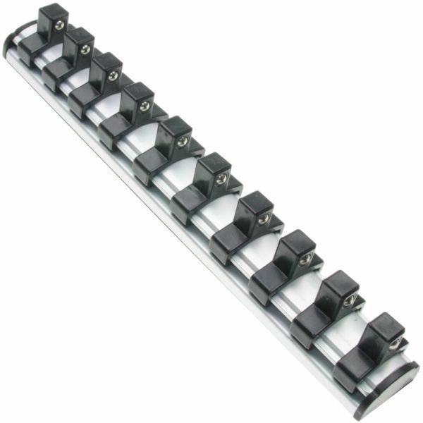 """1 x Sehr hochwertige Aufsteckschiene (magnetische) für 3/8"""" Einsätze mit 10 Clips"""