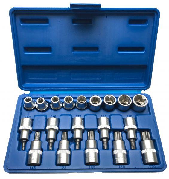 Steckschlüssel-Satz für Innen und Außen TORX®-Schrauben mit Stirnloch, 19-tlg.