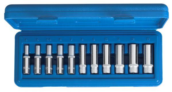 """1/4""""-Antrieb Steckschlüssel-Einsätze tiefe (lange) Ausführung 11-tlg. 4-13 mm"""
