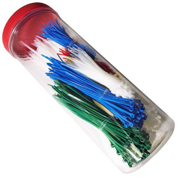 Kabelbinder Sortiment SATZ 1000 Stück farbi WEIß / NATUR, GRÜN, BLAU, GELB, ROT Länge 100 150 200 3