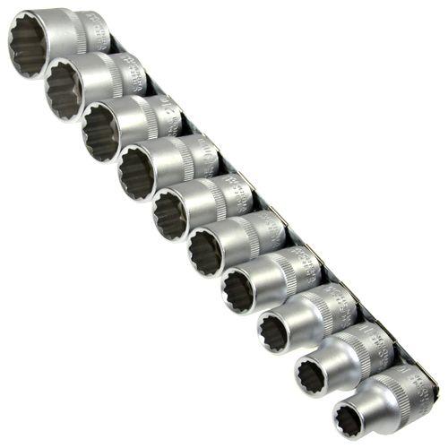 """10 x Steckschlüsseleinsätze 12 kant 1/2"""" VIELZAHN 10-24 mm Nuss auf Steckleiste"""