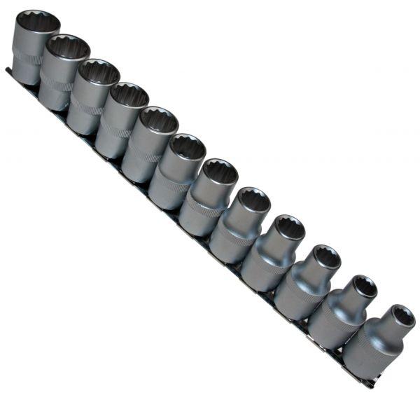 """12 x Steckschlüsseleinsätze 12-kant 1/2"""" VIELZAHN 8-19 mm Nuss auf Steckleiste"""