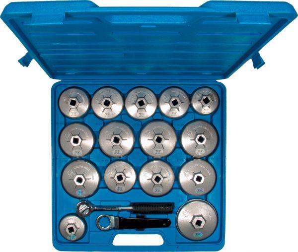 "Ölfilterkappen-Satz aus Aluminium 17-tlg. 64-101 mm mit 1/2""- Set mit Knarre"
