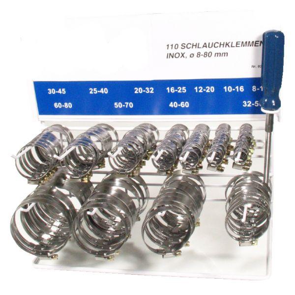 Rostfreier Edel-Stahl Schlauchklemmen Sortiment 110-tlg. Spannbereich 8-80 mm